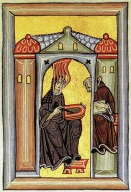 un dipinto che raffigura hildegard von bingen