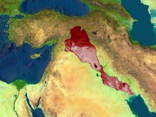 mappa con indicata la mezzaluna fertile