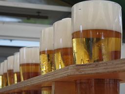 Boccali di birra in fila
