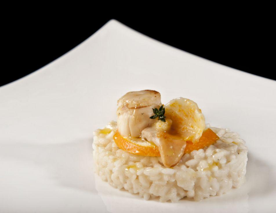risotto con capesante e arancia