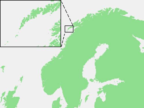 cartina geografica che segna Lofoten