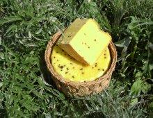 formaggio piacentino in mezzo all'erba