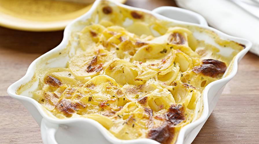 sformato di patate con ragù di gamberetti