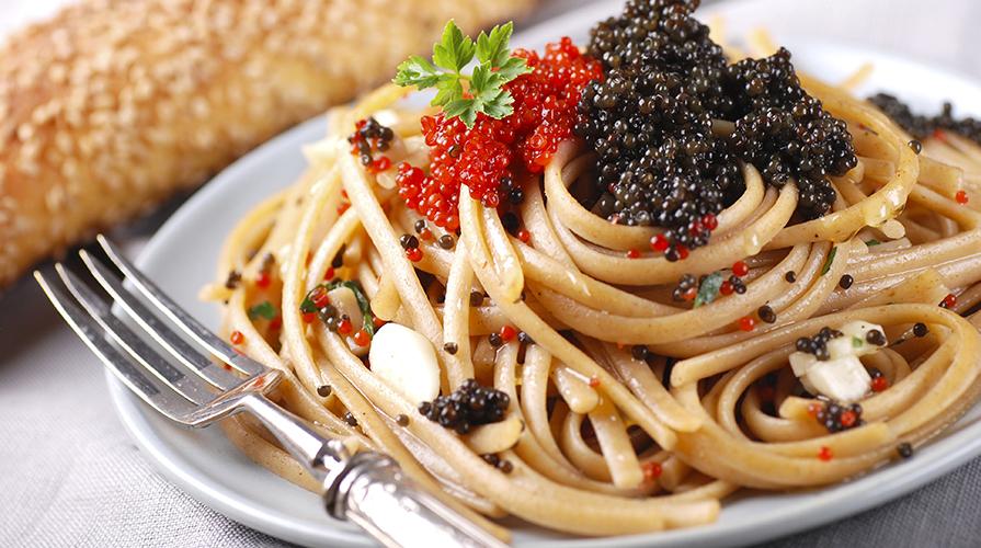 spaghetti freddi al caviale