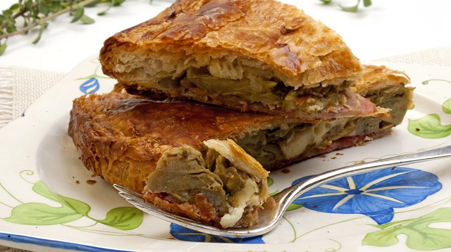 Torta rustica di tarassaco e carciofi