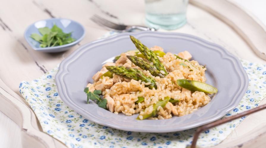 risotto con asparagi e salmone
