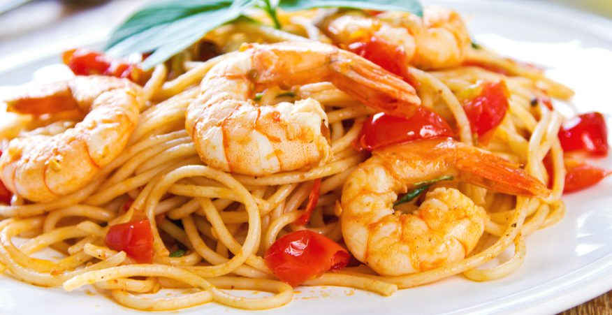 spaghetti gamberoni e pomodorini