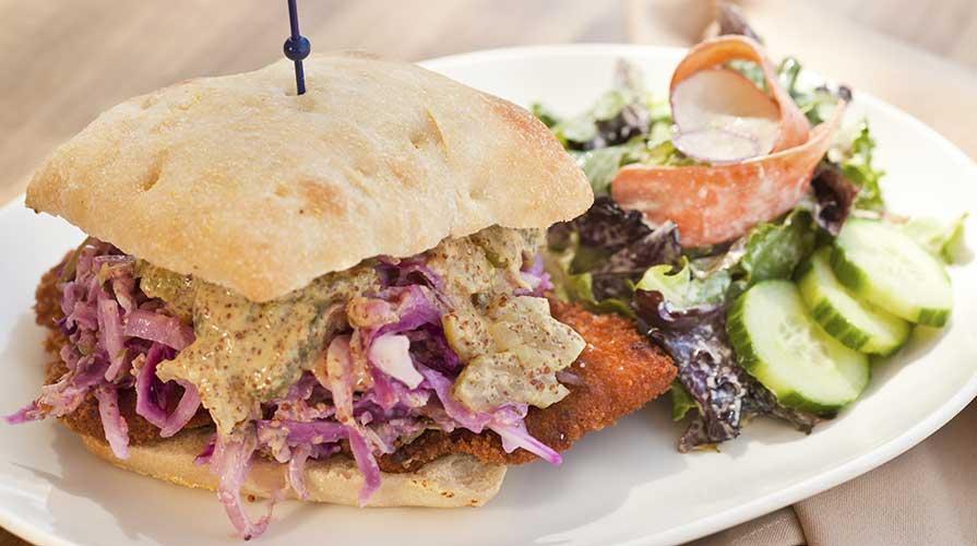 Fried pork tenderloin sandiwich