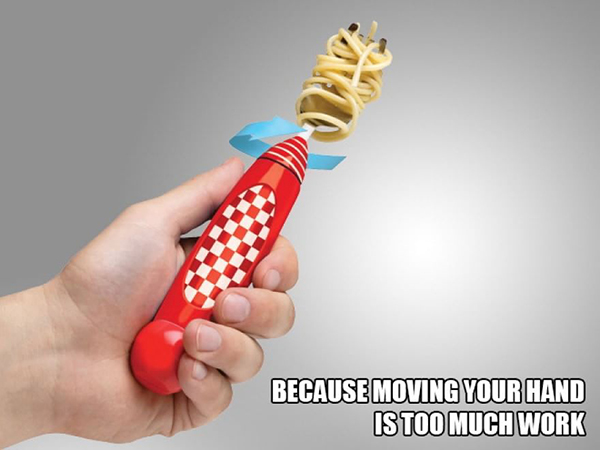 Forchetta arrotola spaghetti