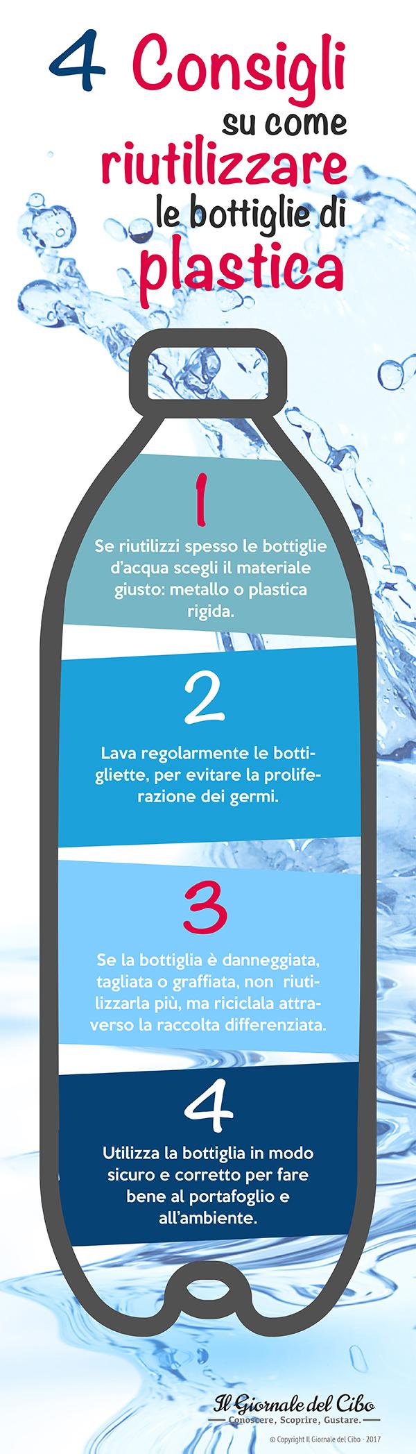 come riutilizzare le bottiglie di plastica infografica