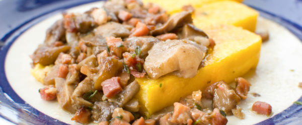polenta funghi e pancetta