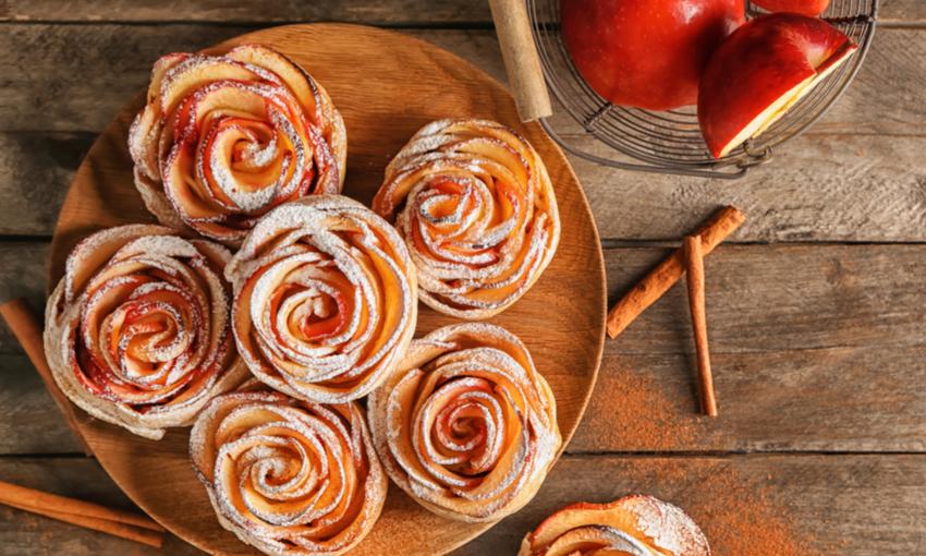 rosette di mela e sfoglia