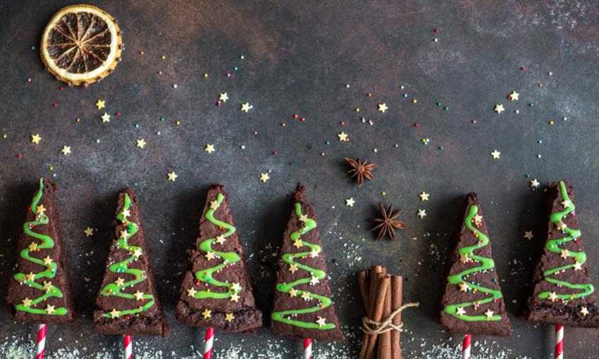 alberelli di natale di brownies