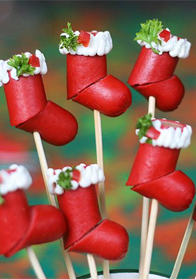 calze natalizie con wurstel