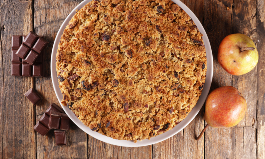 Crumble integrale pere e cioccolato